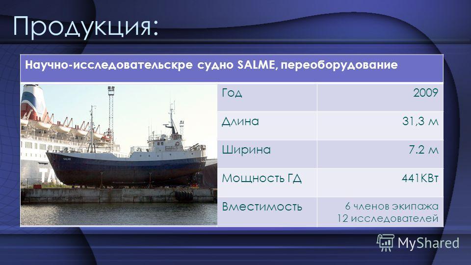 Продукция: Научно-исследовательскре судно SALME, переоборудование Год2009 Длина31,3 м Ширина7.2 м Мощность ГД441КВт Вместимость 6 членов экипажа 12 исследователей