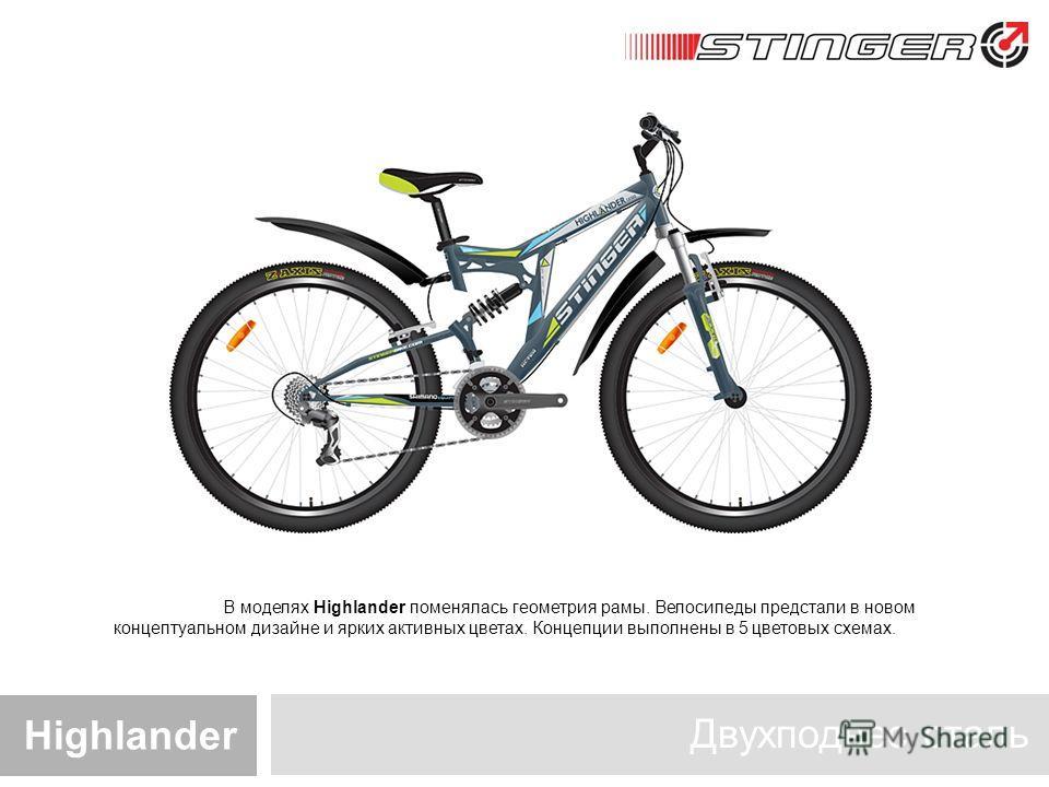 Двухподвес сталь Highlander В моделях Highlander поменялась геометрия рамы. Велосипеды предстали в новом концептуальном дизайне и ярких активных цветах. Концепции выполнены в 5 цветовых схемах.