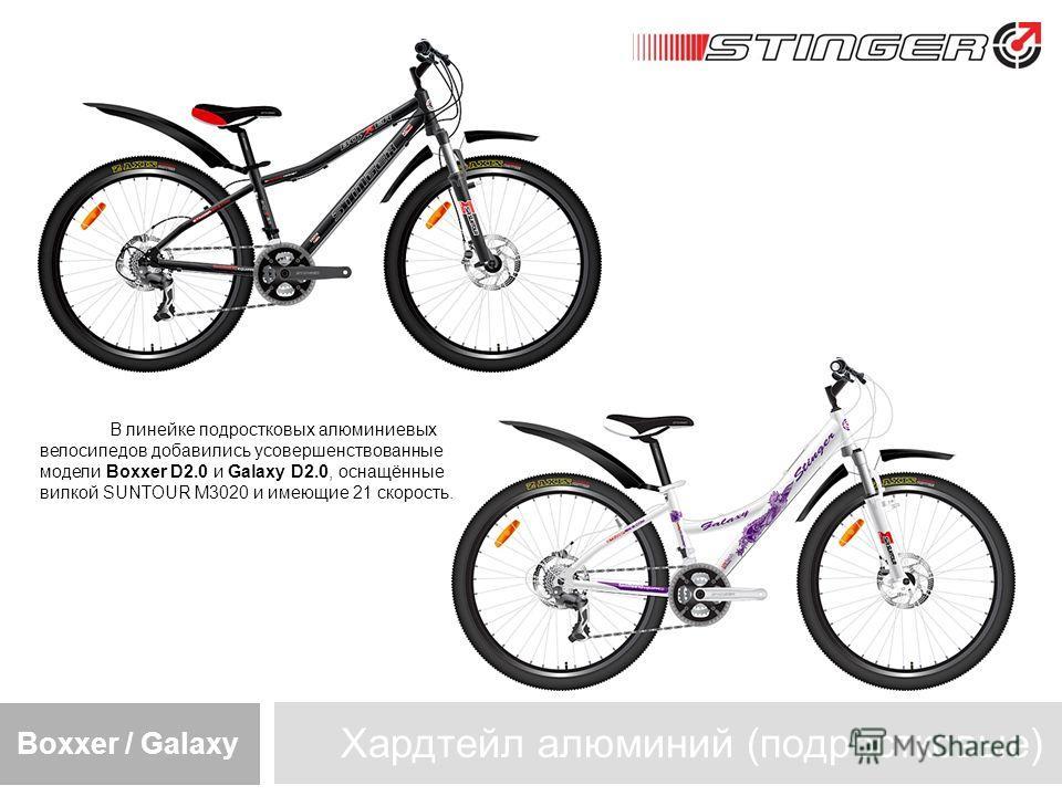 Хардтейл алюминий (подростковые) Boxxer / Galaxy В линейке подростковых алюминиевых велосипедов добавились усовершенствованные модели Boxxer D2.0 и Galaxy D2.0, оснащённые вилкой SUNTOUR M3020 и имеющие 21 скорость.