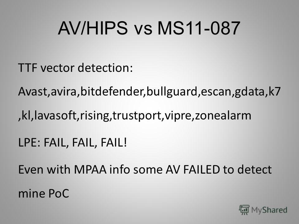 AV/HIPS vs MS11-087 TTF vector detection: Avast,avira,bitdefender,bullguard,escan,gdata,k7,kl,lavasoft,rising,trustport,vipre,zonealarm LPE: FAIL, FAIL, FAIL! Even with MPAA info some AV FAILED to detect mine PoC