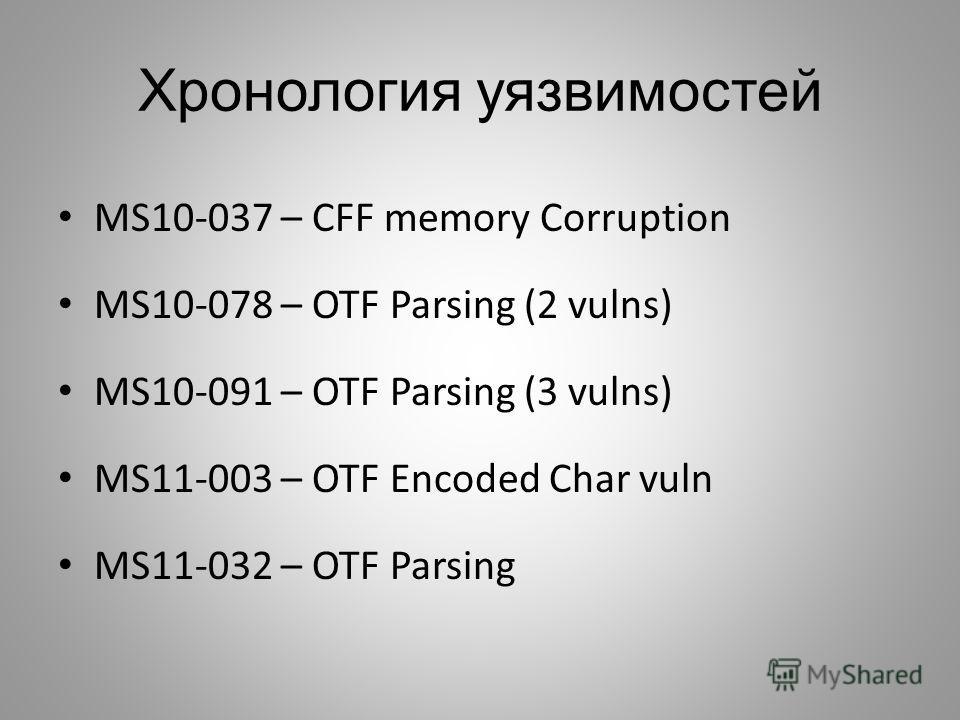 Хронология уязвимостей MS10-037 – CFF memory Corruption MS10-078 – OTF Parsing (2 vulns) MS10-091 – OTF Parsing (3 vulns) MS11-003 – OTF Encoded Char vuln MS11-032 – OTF Parsing
