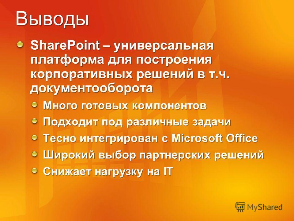 Выводы SharePoint – универсальная платформа для построения корпоративных решений в т.ч. документооборота Много готовых компонентов Подходит под различные задачи Тесно интегрирован с Microsoft Office Широкий выбор партнерских решений Снижает нагрузку