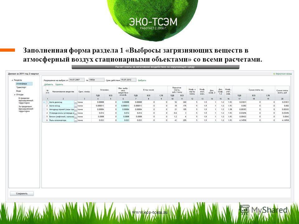 Заполненная форма раздела 1 «Выбросы загрязняющих веществ в атмосферный воздух стационарными объектами» со всеми расчетами. www.eco-tcem.ru