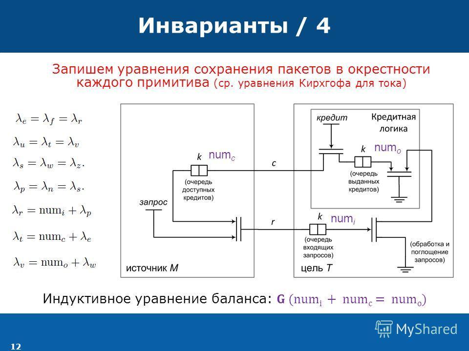 12 Инварианты / 4 num i num c num o Запишем уравнения сохранения пакетов в окрестности каждого примитива (ср. уравнения Кирхгофа для тока)
