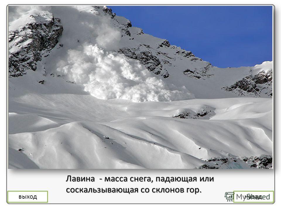 Лавина - масса снега, падающая или соскальзывающая со склонов гор. выходназад