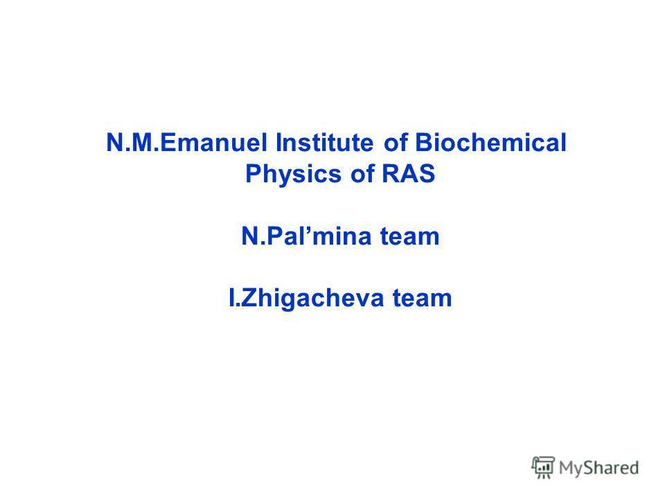 N.M.Emanuel Institute of Biochemical Physics of RAS N.Palmina team I.Zhigacheva team