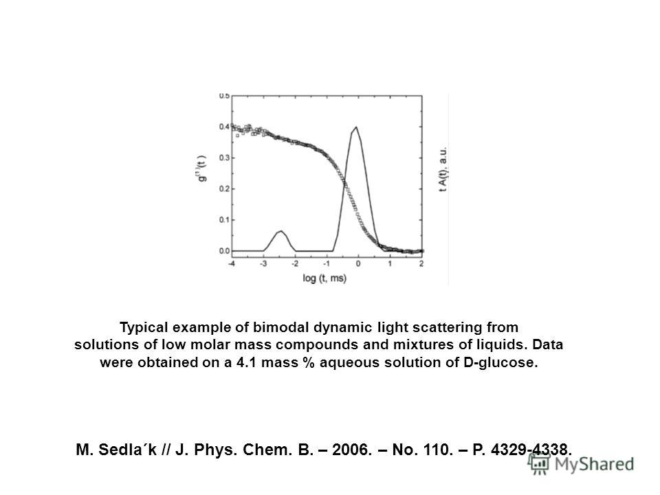 M. Sedla´k // J. Phys. Chem. B. – 2006. – No. 110. – P. 4329-4338. Typical example of bimodal dynamic light scattering from solutions of low molar mass compounds and mixtures of liquids. Data were obtained on a 4.1 mass % aqueous solution of D-glucos