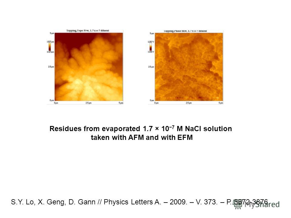 S.Y. Lo, X. Geng, D. Gann // Physics Letters A. – 2009. – V. 373. – Р. 3872-3876. Residues from evaporated 1.7 × 10 7 M NaCl solution taken with AFM and with EFM