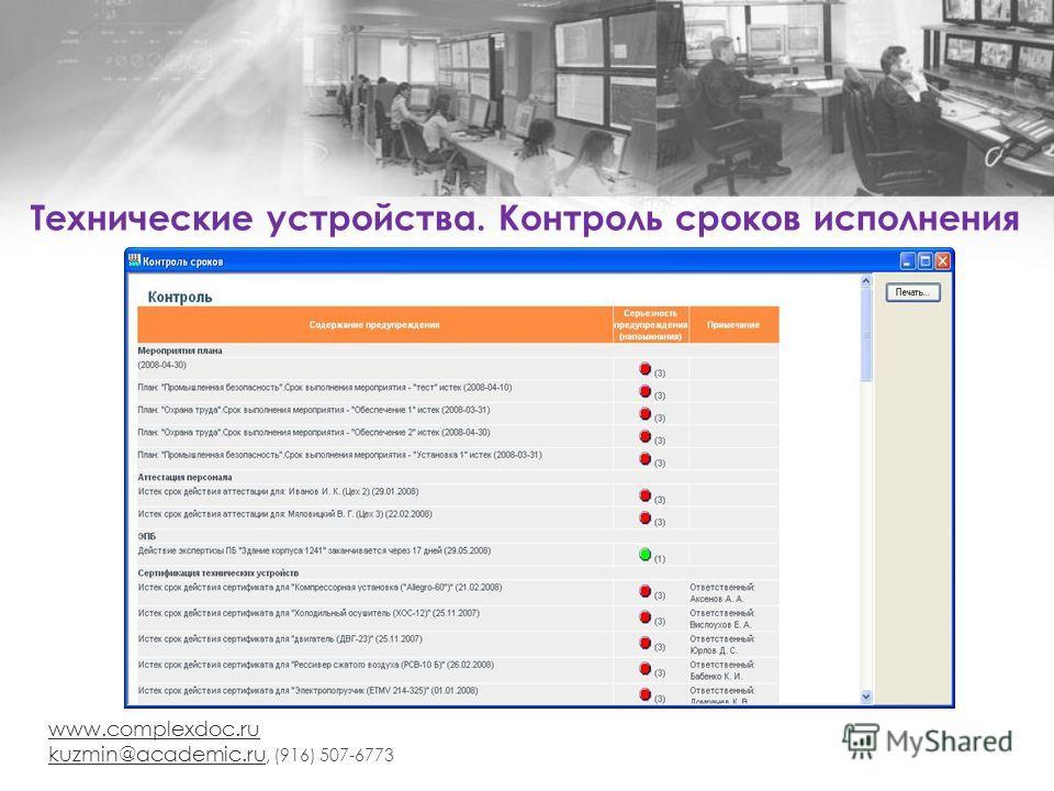 www.complexdoc.ru kuzmin@academic.ru kuzmin@academic.ru, (916) 507-6773 Технические устройства. Контроль сроков исполнения