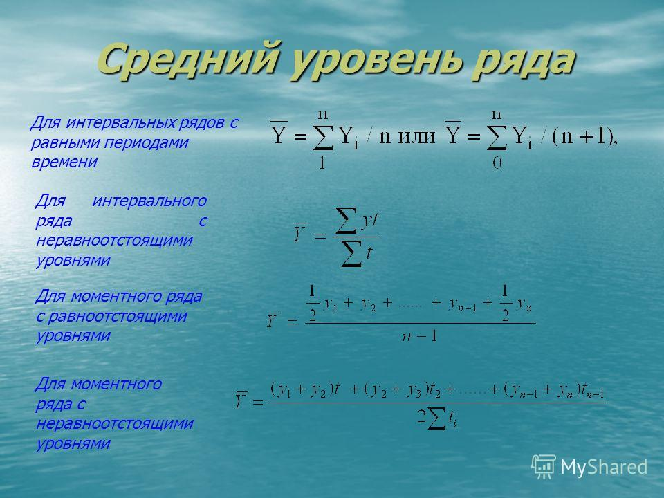 Средний уровень ряда показатель, обобщающий итоги развития явления за единичный интервал или момент из имеющейся временной последовательности показатель, обобщающий итоги развития явления за единичный интервал или момент из имеющейся временной послед