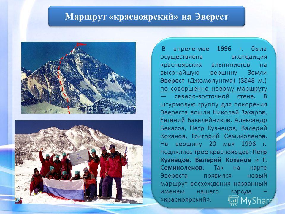 В апреле-мае 1996 г. была осуществлена экспедиция красноярских альпинистов на высочайшую вершину Земли Эверест (Джомолунгма) (8848 м.) по совершенно новому маршруту северо-восточной стене. В штурмовую группу для покорения Эвереста вошли Николай Захар