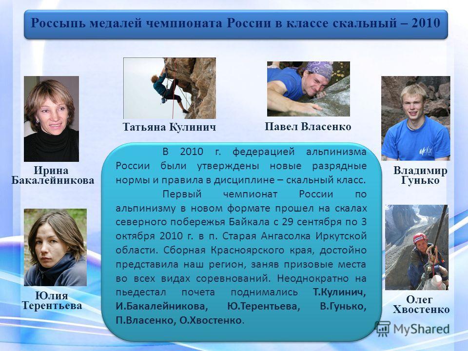 В 2010 г. федерацией альпинизма России были утверждены новые разрядные нормы и правила в дисциплине – скальный класс. Первый чемпионат России по альпинизму в новом формате прошел на скалах северного побережья Байкала с 29 сентября по 3 октября 2010 г