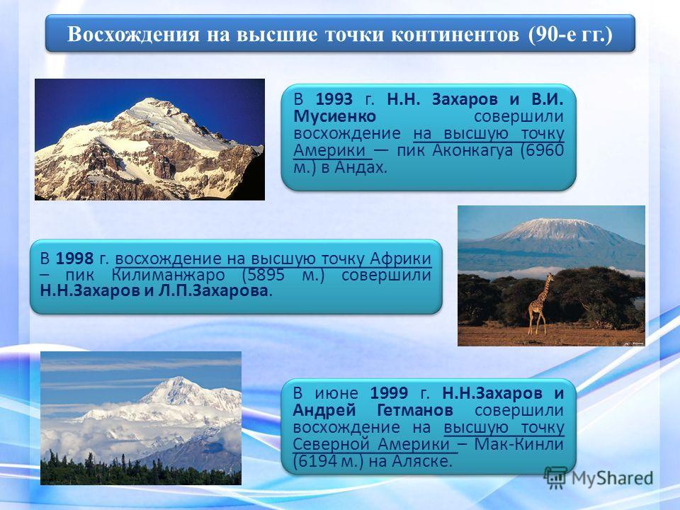 В 1993 г. Н.Н. Захаров и В.И. Мусиенко совершили восхождение на высшую точку Америки пик Аконкагуа (6960 м.) в Андах. В 1998 г. восхождение на высшую точку Африки – пик Килиманжаро (5895 м.) совершили Н.Н.Захаров и Л.П.Захарова. Восхождения на высшие
