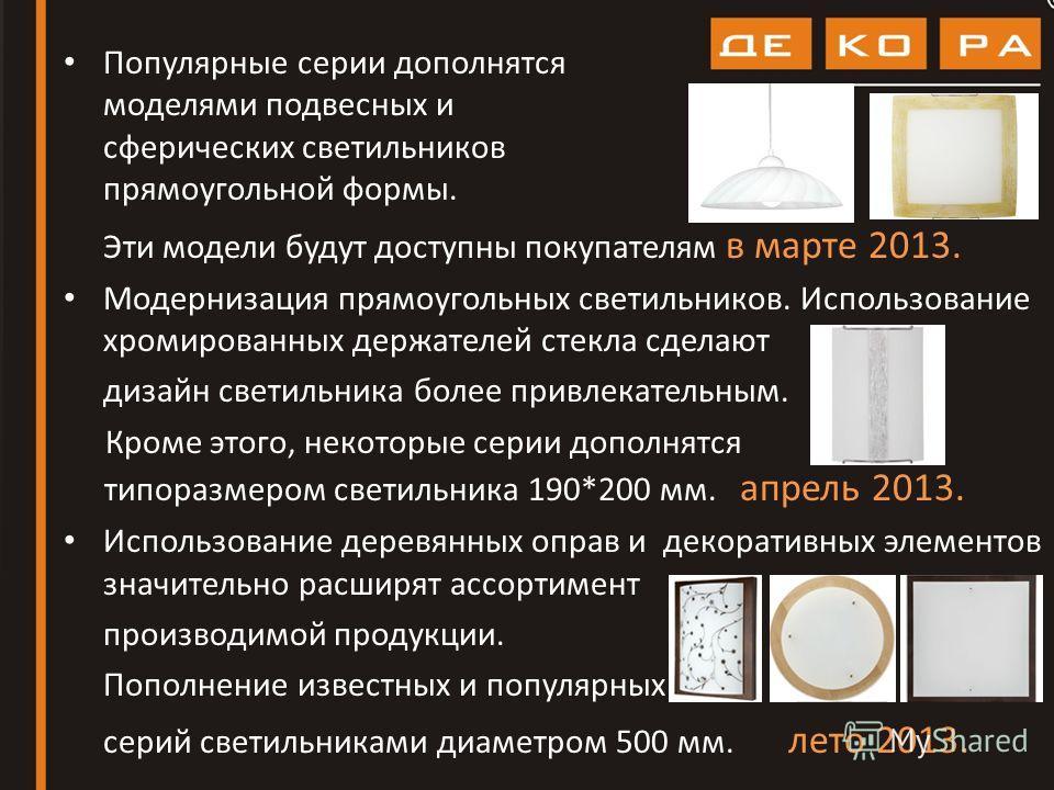 Популярные серии дополнятся моделями подвесных и сферических светильников прямоугольной формы. Эти модели будут доступны покупателям в марте 2013. Модернизация прямоугольных светильников. Использование хромированных держателей стекла сделают дизайн с