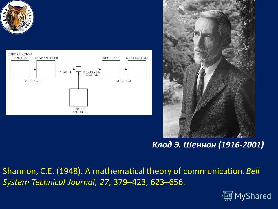 Клод Э. Шеннон (1916-2001) Shannon, C.E. (1948). A mathematical theory of communication. Bell System Technical Journal, 27, 379–423, 623–656.