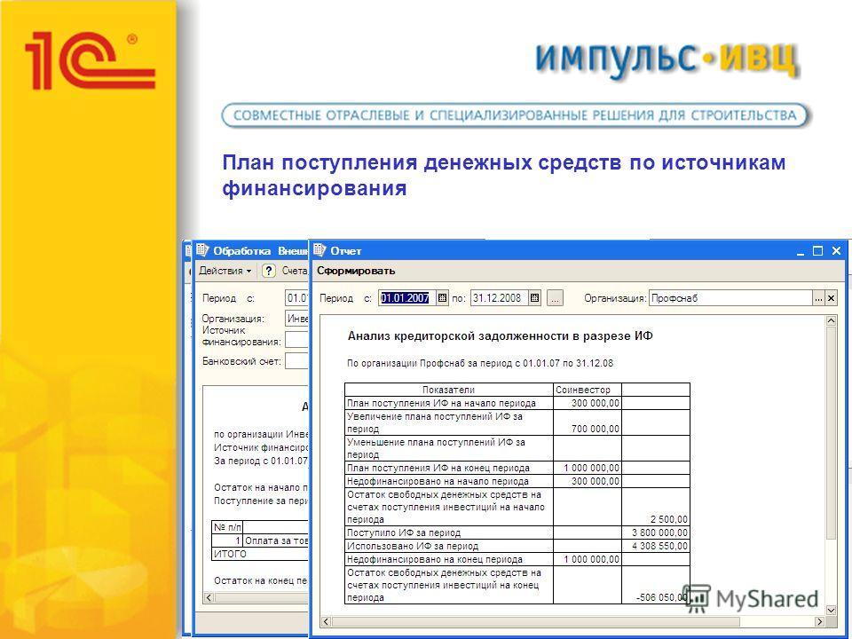 План поступления денежных средств по источникам финансирования