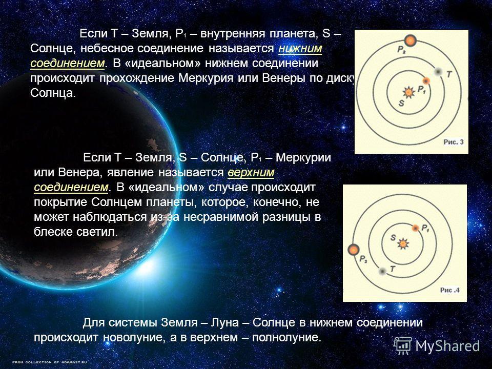 Если T – Земля, P 1 – внутренняя планета, S – Солнце, небесное соединение называется нижним соединением. В «идеальном» нижнем соединении происходит прохождение Меркурия или Венеры по диску Солнца. Если T – Земля, S – Солнце, P 1 – Меркурии или Венера