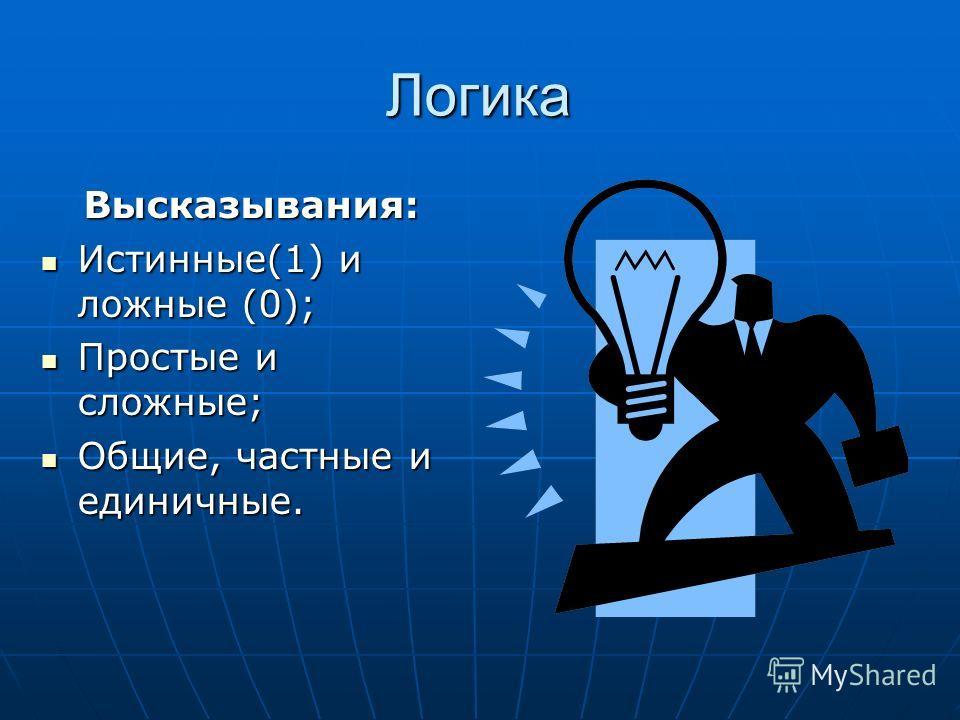 Логика Высказывания: Истинные(1) и ложные (0); Истинные(1) и ложные (0); Простые и сложные; Простые и сложные; Общие, частные и единичные. Общие, частные и единичные.