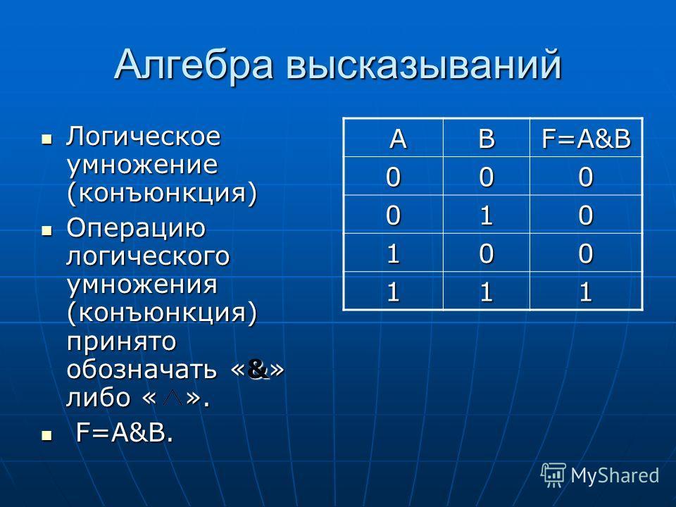 Алгебра высказываний Логическое умножение (конъюнкция) Логическое умножение (конъюнкция) Операцию логического умножения (конъюнкция) принято обозначать «&» либо « ». Операцию логического умножения (конъюнкция) принято обозначать «&» либо « ». F=A&B.