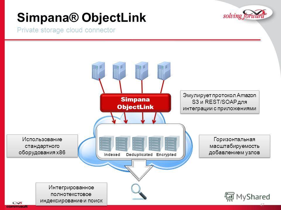 Simpana® ObjectLink 47 Private storage cloud connector Simpana ContentStore DeduplicatedEncryptedIndexed Simpana ObjectLink Использование стандартного оборудования x86 Эмулирует протокол Amazon S3 и REST/SOAP для интеграции с приложениями Горизонталь