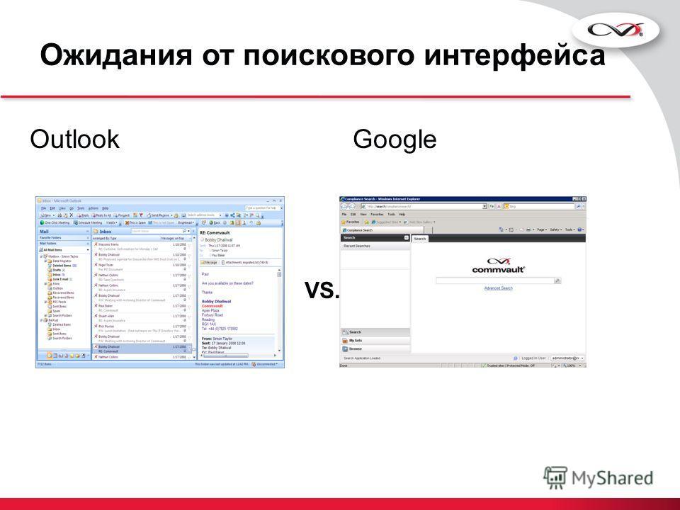 Ожидания от поискового интерфейса OutlookGoogle VS.