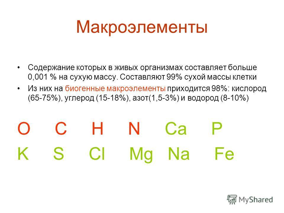 Макроэлементы Содержание которых в живых организмах составляет больше 0,001 % на сухую массу. Составляют 99% сухой массы клетки Из них на биогенные макроэлементы приходится 98%: кислород (65-75%), углерод (15-18%), азот(1,5-3%) и водород (8-10%) O C