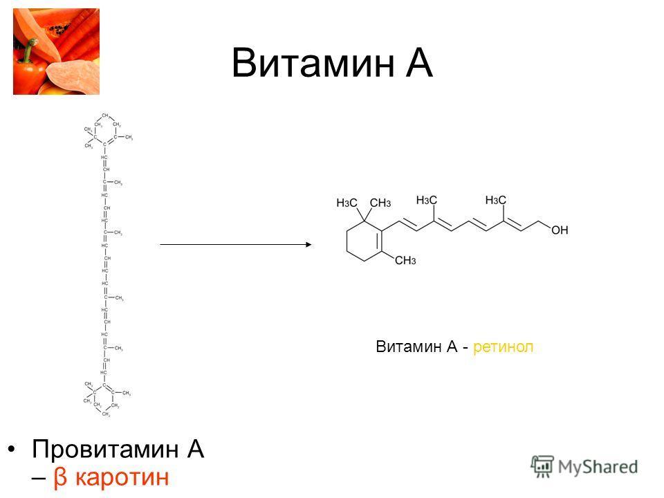 Витамин А Провитамин А – β каротин Витамин А - ретинол