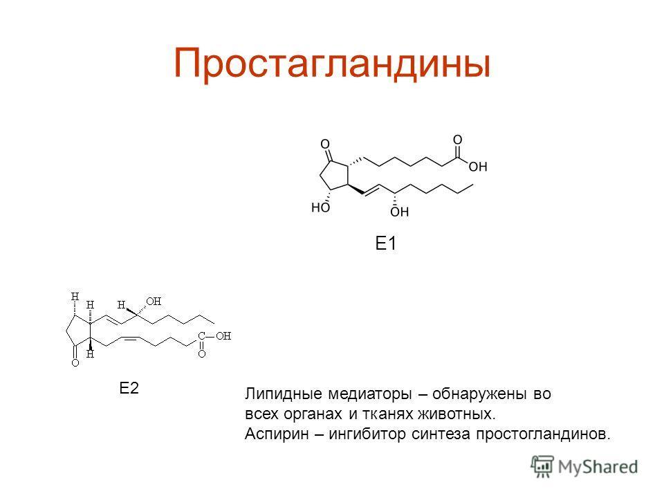 Простагландины Е1 Е2 Липидные медиаторы – обнаружены во всех органах и тканях животных. Аспирин – ингибитор синтеза простогландинов.