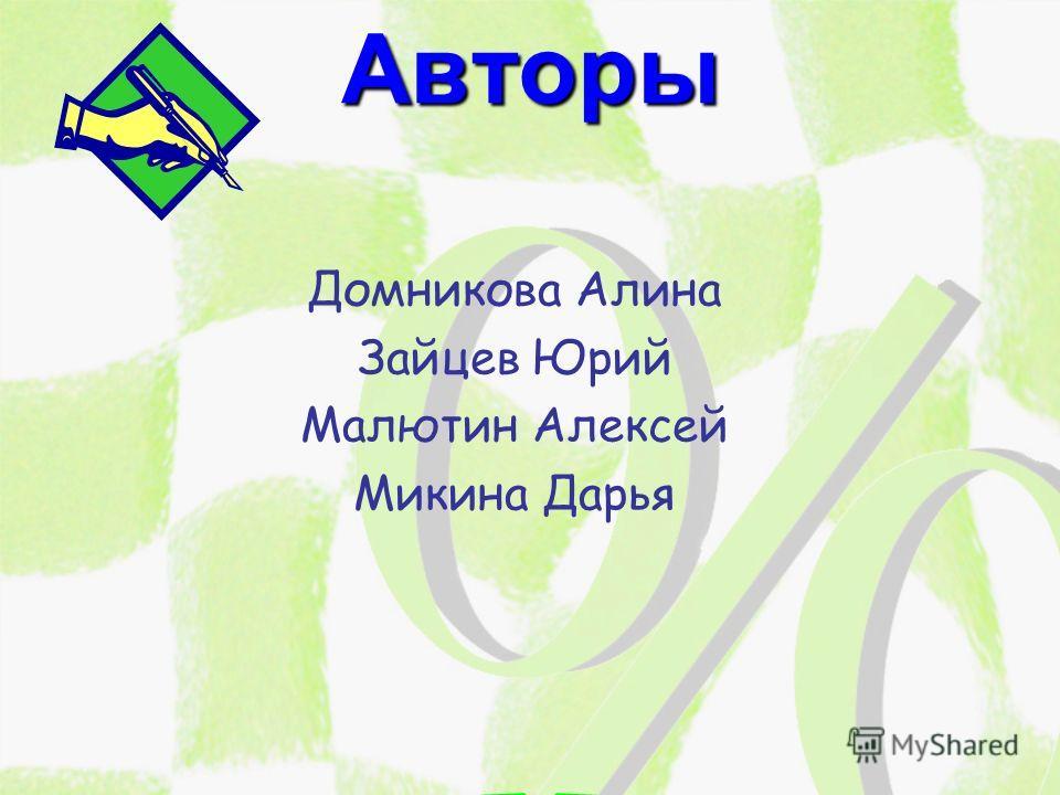 Авторы Домникова Алина Зайцев Юрий Малютин Алексей Микина Дарья