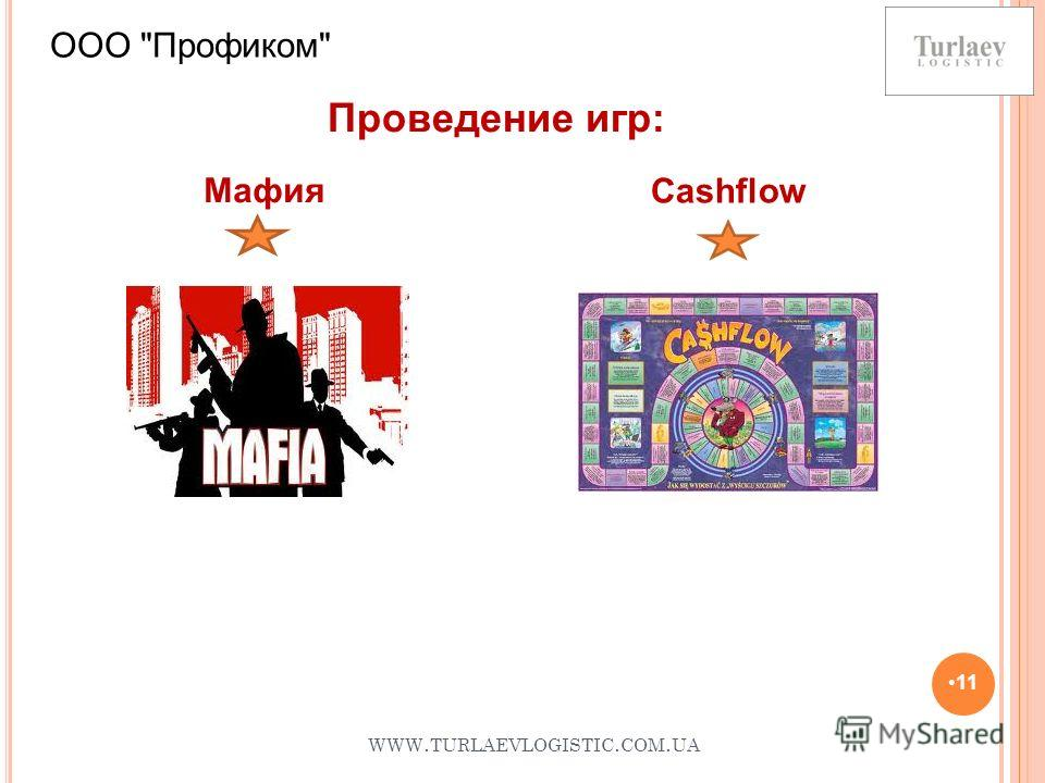 WWW. TURLAEVLOGISTIC. COM. UA 11 ООО Профиком Cashflow Проведение игр: Мафия