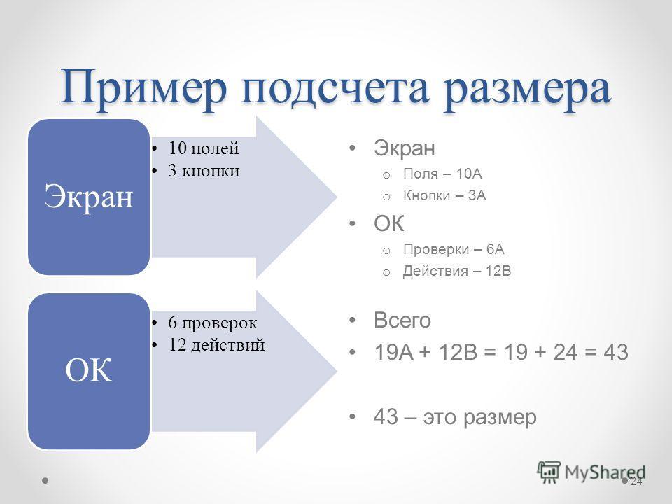 Пример подсчета размера Экран o Поля – 10А o Кнопки – 3А ОК o Проверки – 6А o Действия – 12B Всего 19A + 12B = 19 + 24 = 43 43 – это размер 10 полей 3 кнопки Экран 6 проверок 12 действий ОК 24