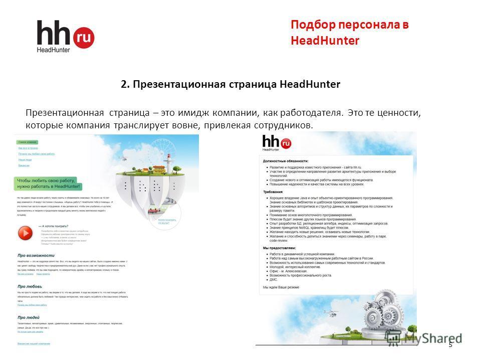 5 Подбор персонала в HeadHunter 2. Презентационная страница HeadHunter Презентационная страница – это имидж компании, как работодателя. Это те ценности, которые компания транслирует вовне, привлекая сотрудников.