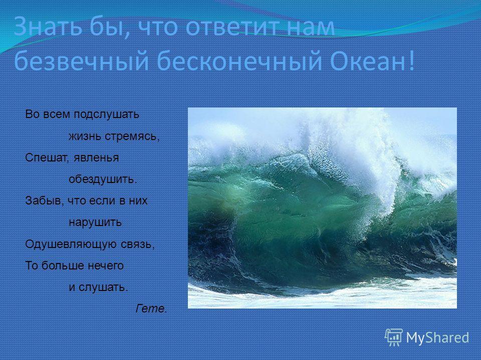 Знать бы, что ответит нам безвечный бесконечный Океан! Во всем подслушать жизнь стремясь, Спешат, явленья обездушить. Забыв, что если в них нарушить Одушевляющую связь, То больше нечего и слушать. Гете.