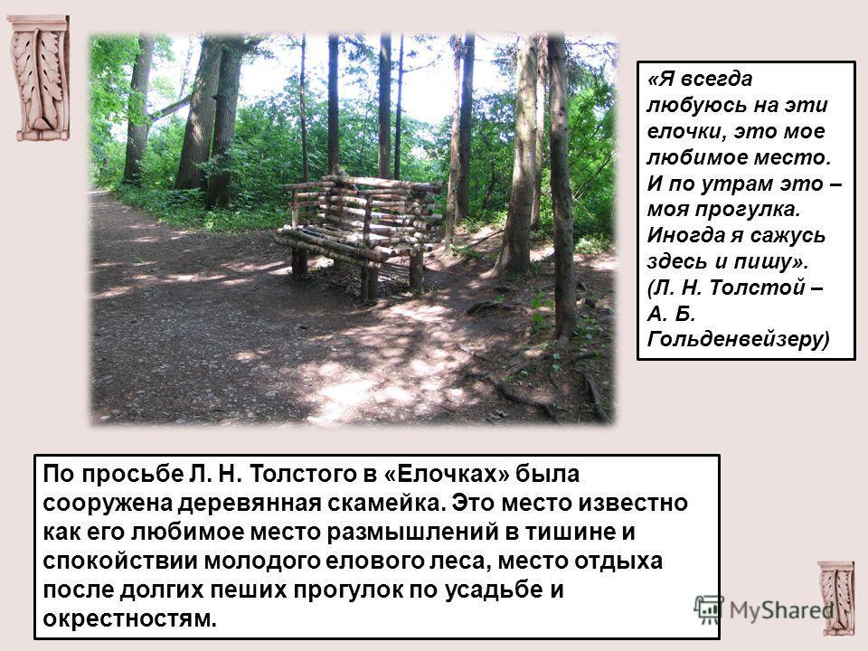 «Я всегда любуюсь на эти елочки, это мое любимое место. И по утрам это – моя прогулка. Иногда я сажусь здесь и пишу». (Л. Н. Толстой – А. Б. Гольденвейзеру) По просьбе Л. Н. Толстого в «Елочках» была сооружена деревянная скамейка. Это место известно