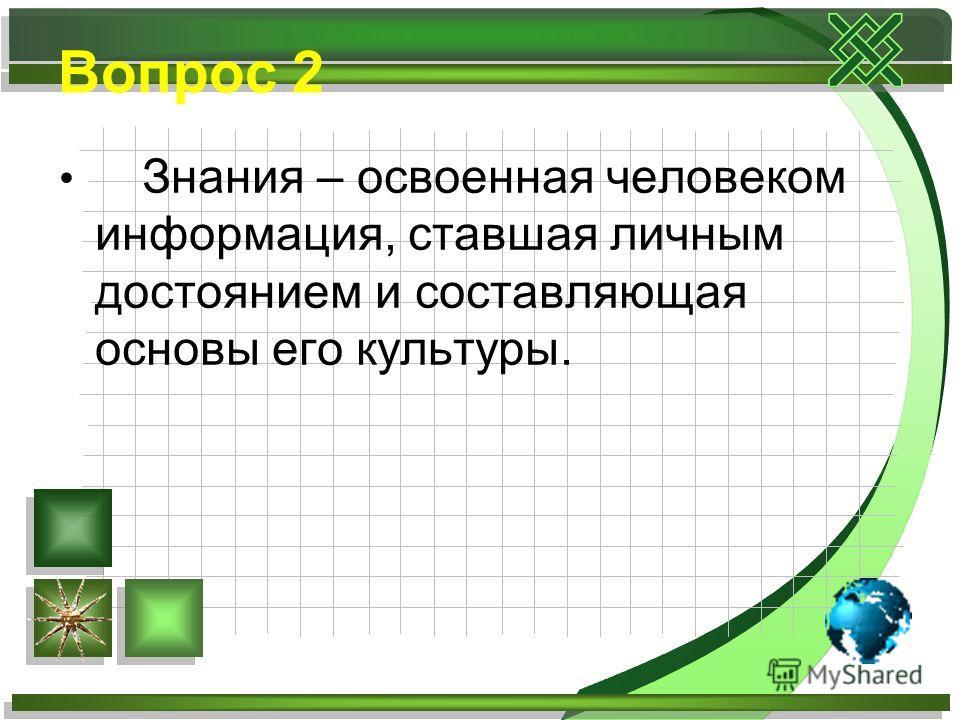 Вопрос 2 Знания – освоенная человеком информация, ставшая личным достоянием и составляющая основы его культуры.