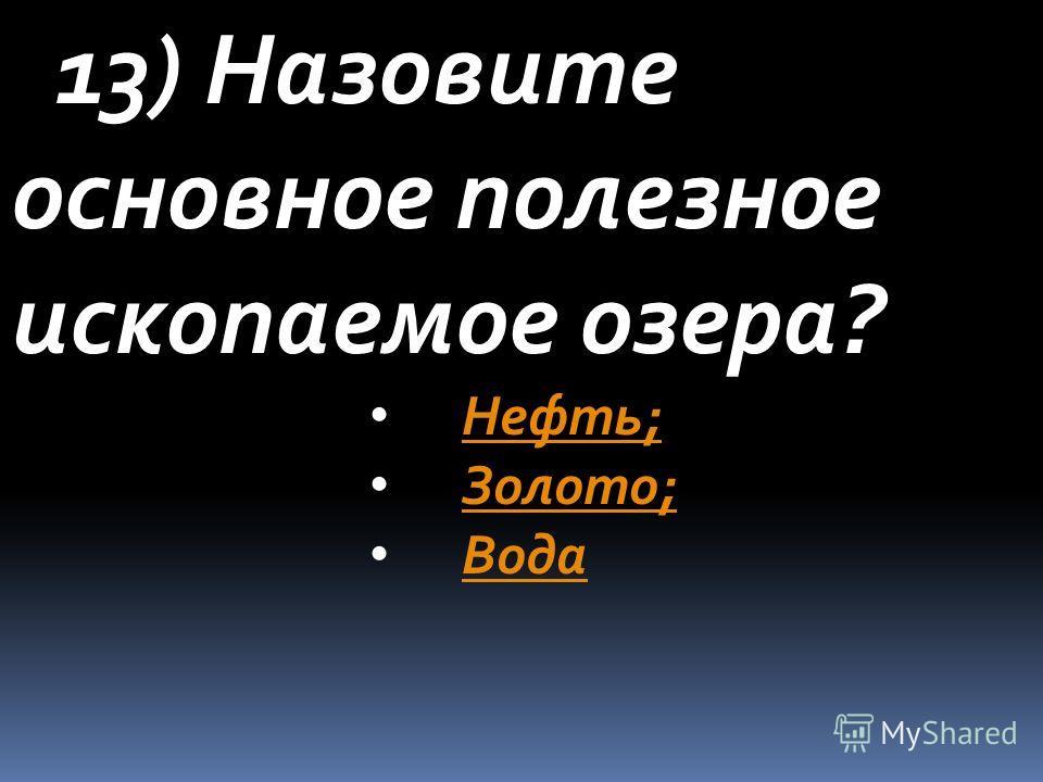 13) Назовите основное полезное ископаемое озера? Нефть; Золото; Вода