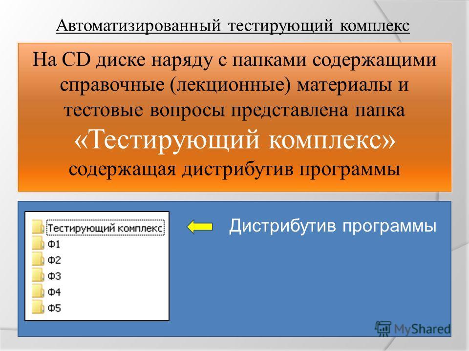 Автоматизированный тестирующий комплекс На CD диске наряду с папками содержащими справочные (лекционные) материалы и тестовые вопросы представлена папка «Тестирующий комплекс» содержащая дистрибутив программы Дистрибутив программы
