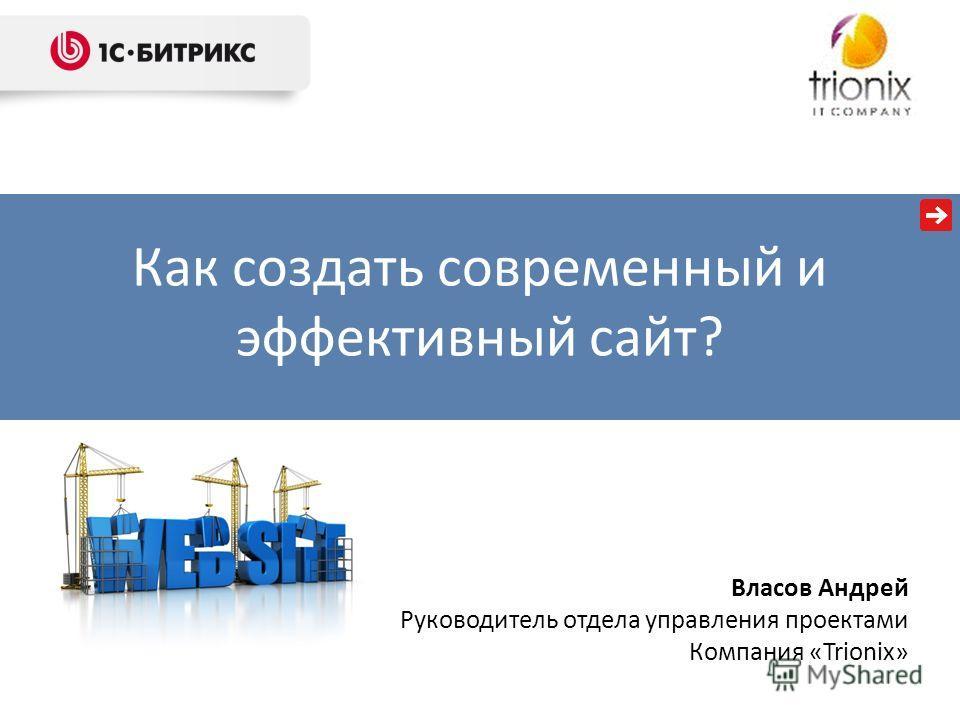 Власов Андрей Руководитель отдела управления проектами Компания «Trionix» Как создать современный и эффективный сайт?