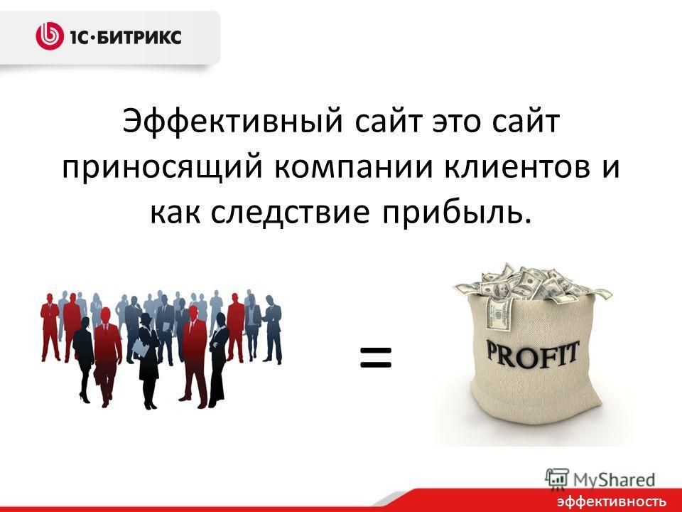 Эффективный сайт это сайт приносящий компании клиентов и как следствие прибыль. = эффективность