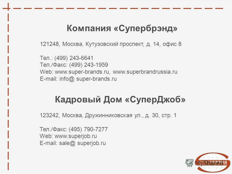 Компания «Супербрэнд» 121248, Москва, Кутузовский проспект, д. 14, офис 8 Тел.: (499) 243-6641 Тел./Факс: (499) 243-1959 Web: www.super-brands.ru, www.superbrandrussia.ru E-mail: info@ super-brands.ru Кадровый Дом «СуперДжоб» 123242, Москва, Дружинни