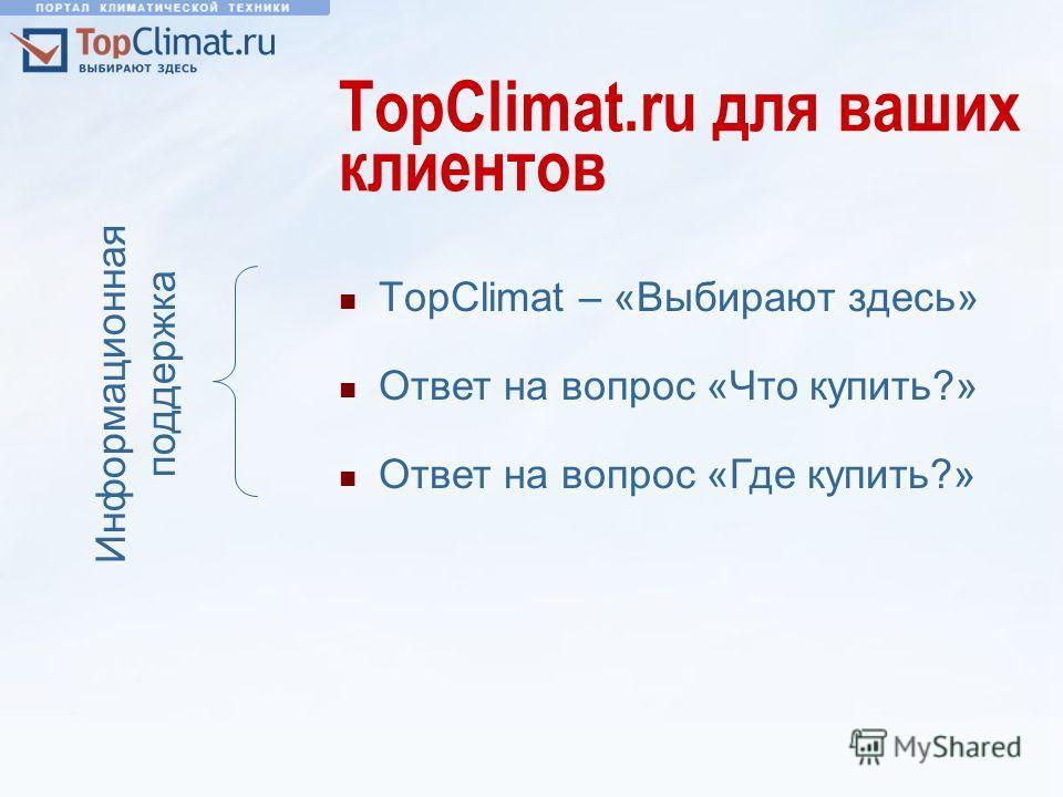 TopClimat.ru для ваших клиентов TopClimat – «Выбирают здесь» Ответ на вопрос «Что купить?» Информационная поддержка Ответ на вопрос «Где купить?»