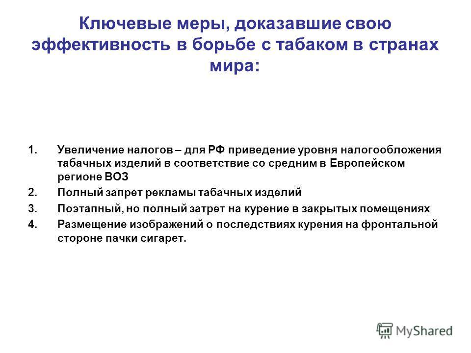 Ключевые меры, доказавшие свою эффективность в борьбе с табаком в странах мира: 1.Увеличение налогов – для РФ приведение уровня налогообложения табачных изделий в соответствие со средним в Европейском регионе ВОЗ 2.Полный запрет рекламы табачных изде