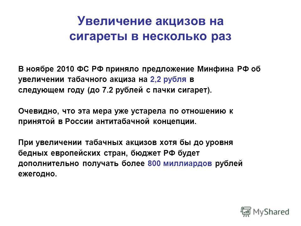 Увеличение акцизов на сигареты в несколько раз В ноябре 2010 ФС РФ приняло предложение Минфина РФ об увеличении табачного акциза на 2,2 рубля в следующем году (до 7.2 рублей с пачки сигарет). Очевидно, что эта мера уже устарела по отношению к принято