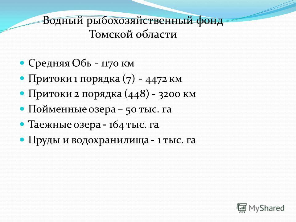Средняя Обь - 1170 км Притоки 1 порядка (7) - 4472 км Притоки 2 порядка (448) - 3200 км Пойменные озера – 50 тыс. га Таежные озера - 164 тыс. га Пруды и водохранилища - 1 тыс. га Водный рыбохозяйственный фонд Томской области