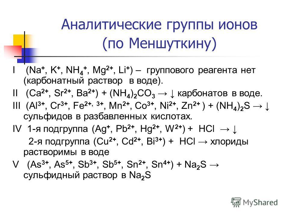 I (Na +, K +, NH 4 +, Mg 2+, Li + ) – группового реагента нет (карбонатный раствор в воде). II (Ca 2+, Sr 2+, Ba 2+ ) + (NH 4 ) 2 CO 3 карбонатов в воде. III (Al 3+, Cr 3+, Fe 2+, 3+, Mn 2+, Co 3+, Ni 2+, Zn 2+ ) + (NH 4 ) 2 S сульфидов в разбавленны