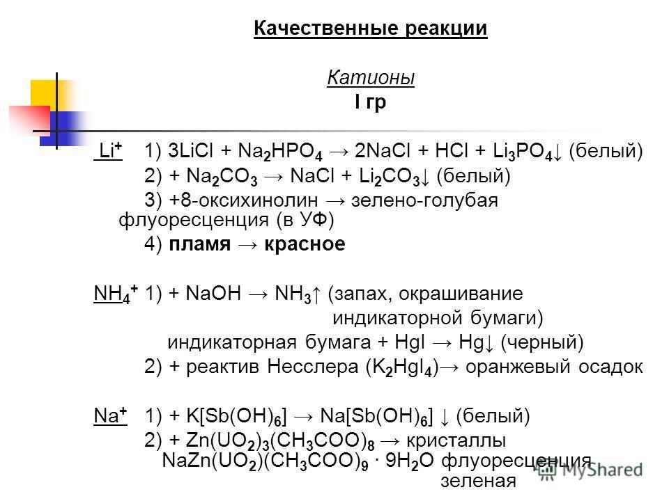 Качественные реакции Катионы I гр Li + 1) 3LiCl + Na 2 HPO 4 2NaCl + HCl + Li 3 PO 4 (белый) 2) + Na 2 CO 3 NaCl + Li 2 CO 3 (белый) 3) +8-оксихинолин зелено-голубая флуоресценция (в УФ) 4) пламя красное NH 4 + 1) + NaOH NH 3 (запах, окрашивание инди