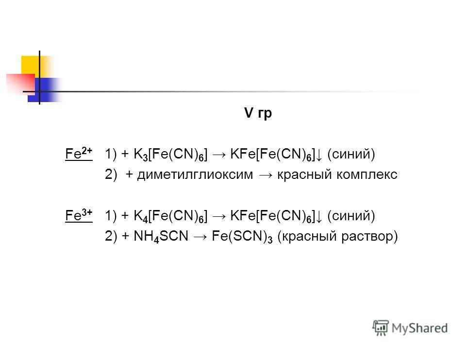 V гр Fe 2+ 1) + K 3 [Fe(CN) 6 ] KFe[Fe(CN) 6 ] (синий) 2) + диметилглиоксим красный комплекс Fe 3+ 1) + K 4 [Fe(CN) 6 ] KFe[Fe(CN) 6 ] (синий) 2) + NH 4 SCN Fe(SCN) 3 (красный раствор)