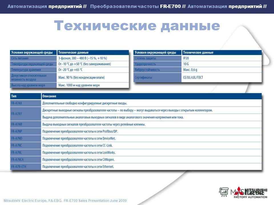 Mitsubishi Electric Europe, FA-EBG. FR-E700 Sales Presentation June 2009 Автоматизация предприятий /// Преобразователи частоты FR-E700 /// Автоматизация предприятий /// Технические данные