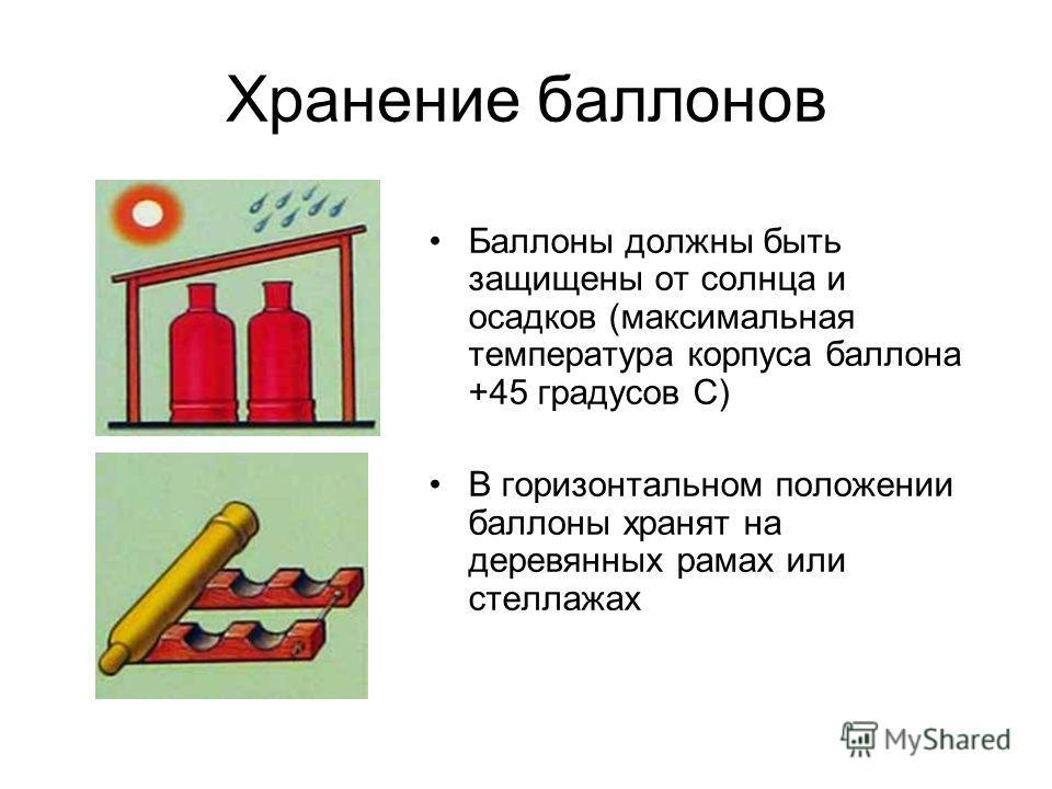 Хранение баллонов Баллоны должны быть защищены от солнца и осадков (максимальная температура корпуса баллона +45 градусов С) В горизонтальном положении баллоны хранят на деревянных рамах или стеллажах