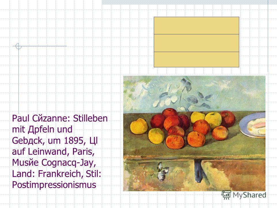 Paul Cйzanne: Stilleben mit Дpfeln und Gebдck, um 1895, Цl auf Leinwand, Paris, Musйe Cognacq-Jay, Land: Frankreich, Stil: Postimpressionismus